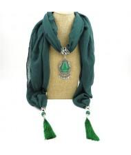 Stone Gem Water Drop Pendant Fashion Tassel Scarf Necklace - Ink Green