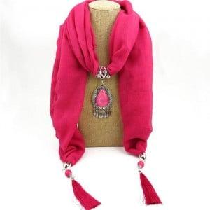 Stone Gem Water Drop Pendant Fashion Tassel Scarf Necklace - Rose
