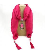 Stone Gem Triangle Pendant Fashion Scarf Necklace - Orange