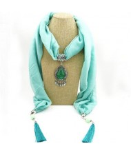 Stone Gem Water Drop Pendant Fashion Tassel Scarf Necklace - Light Blue
