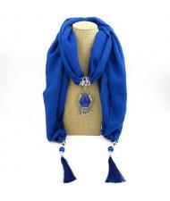 Stone Gem Water Drop Pendant Fashion Tassel Scarf Necklace - Royal Blue