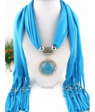Round Stone Inlaid Ethnic Pendant Fashion Scarf Necklace - Blue