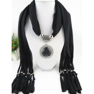 Round Stone Inlaid Ethnic Pendant Fashion Scarf Necklace - Black