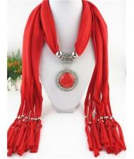 Round Stone Inlaid Ethnic Pendant Fashion Scarf Necklace - Red