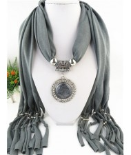 Round Stone Inlaid Ethnic Pendant Fashion Scarf Necklace - Gray