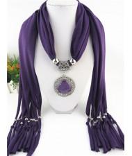 Round Stone Inlaid Ethnic Pendant Fashion Scarf Necklace - Purple