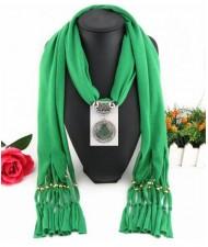 Round Stone Inlaid Ethnic Pendant Fashion Scarf Necklace - Green