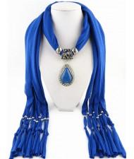 Waterdrop Shape Stone Gem Ethnic Pendant Fashion Scarf Necklace - Blue