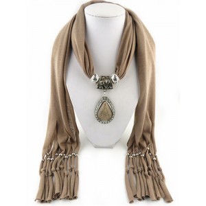 Waterdrop shape stone gem ethnic pendant fashion scarf necklace khaki aloadofball Choice Image