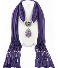 Waterdrop Shape Stone Gem Ethnic Pendant Fashion Scarf Necklace - Purple