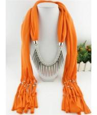 Punk Fashion Long Rivets Tassels Scarf Necklace - Orange