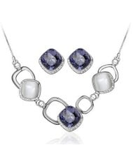 Luxurious Square Rhinestone and Opal Inlaid Geometric Modeling Fashion Necklace and Earrings Set - Purple
