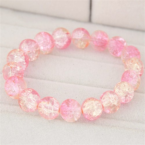 Korean Fashion Simple Style Glass Beads Bracelet Pink