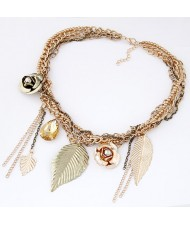 Leaves Roses and Waterdrop Pendants Multi-layer Chain Fashion Statement Necklace
