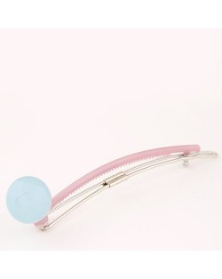 Korean Fashion Candy Color Ball Decorated Hair Clip - Light Blue