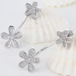 Platinum Plated Copper Twin Flowers Fashion Earrings