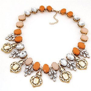 Western Fashion Acrylic Gem Jointed Twig Luxurious Design Fashion Necklace - Orange and Pink
