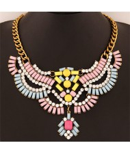 Resin and Acrylic Gems Jointed Fashion Design Short Statement Necklace - Pink