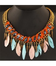 Leopard Prints Balls Decorated with Feather Pendants Design Statement Fashion Necklace