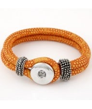 Studs and Button Decoration Design Snakeskin Texture Leather Bracelet - Orange
