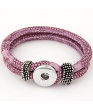 Studs and Button Decoration Design Snakeskin Texture Leather Bracelet - Violet