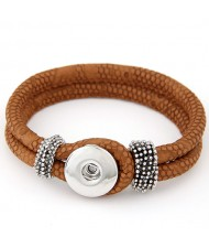Studs and Button Decoration Design Snakeskin Texture Leather Bracelet - Brown