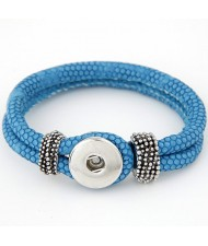 Studs and Button Decoration Design Snakeskin Texture Leather Bracelet - Blue