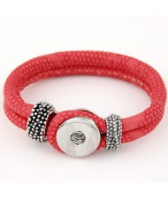 Studs and Button Decoration Design Snakeskin Texture Leather Bracelet - Rose
