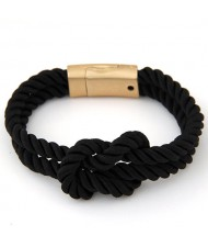 Knot Style Magnetic Buckle Rope Bracelet - Black