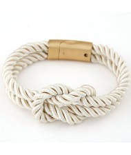 Knot Style Magnetic Buckle Rope Bracelet - White
