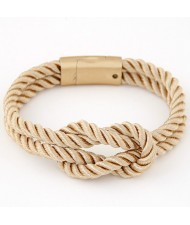 Knot Style Magnetic Buckle Rope Bracelet - Khaki
