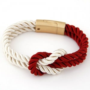 Weaving Knot Style Magnetic Buckle Rope Bracelet - Red and White