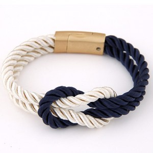 Weaving Knot Style Magnetic Buckle Rope Bracelet - Blue and White