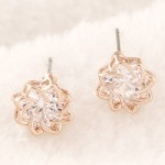 Korean Fashion Transparent Gem Inlaid Revolving Pattern Flower Ear Studs - Champagne Gold