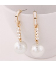 Elegant Czech Rhinestone Decorated Dangling Pearl Ball Ear Studs