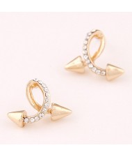 Twist Rivet Design Fashion Ear Studs - Golden
