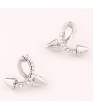 Twist Rivet Design Fashion Ear Studs - Silver