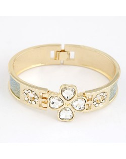 Rhinestone Four-leaf Clover Dull Polished Surface Bangle