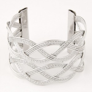 Hollow Wave Pattern Wide Open-end Design Fashion Costume Bangle - Silver