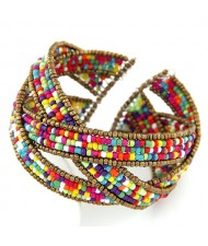 Bohemian Fashion Handmade Spherical Mini Beads Open-end Bangle - Multicolor