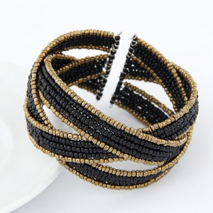Bohemian Fashion Handmade Spherical Mini Beads Open-end Bangle - Black