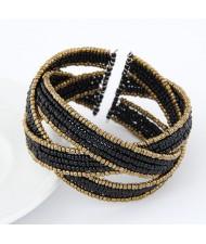 Bohemian Fashion Handmade Spherical Mini Beads Open-end Bangle - Black