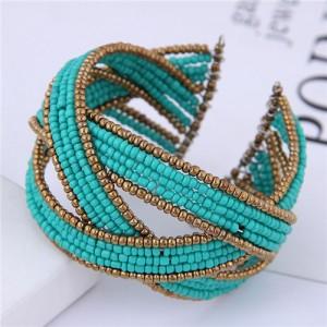 Bohemian Fashion Handmade Spherical Mini Beads Open-end Bangle - Blue