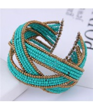 Bohemian Fashion Handmade Spherical Mini Beads Open-end Bangle - Blue
