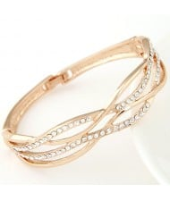 Crossed Curves Design with Czech Rhinestone Embellished Fashion Bangle