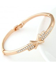 Czech Rhinestone Decorated Bowknot Golden Fashion Bangle