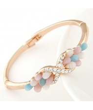 Czech Rhinestone and Colorful Opal Combined Angel Wings Design Fashion Bangle