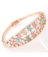 Array of Stars Design Colorful Opal Fashion Golden Bangle