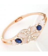 Opal and Czech Rhinestone Jointed Butterfly Fashion Bangle