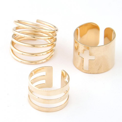 Cross Hollow Design with Open-end Style and Spring Shape Three Pieces Ring Set - Golden